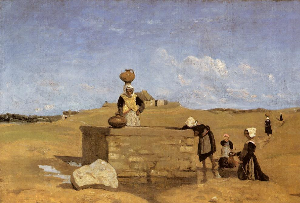Breton Women at the Fountain 1840-1844 1 | Jean Baptiste Corot | Oil Painting