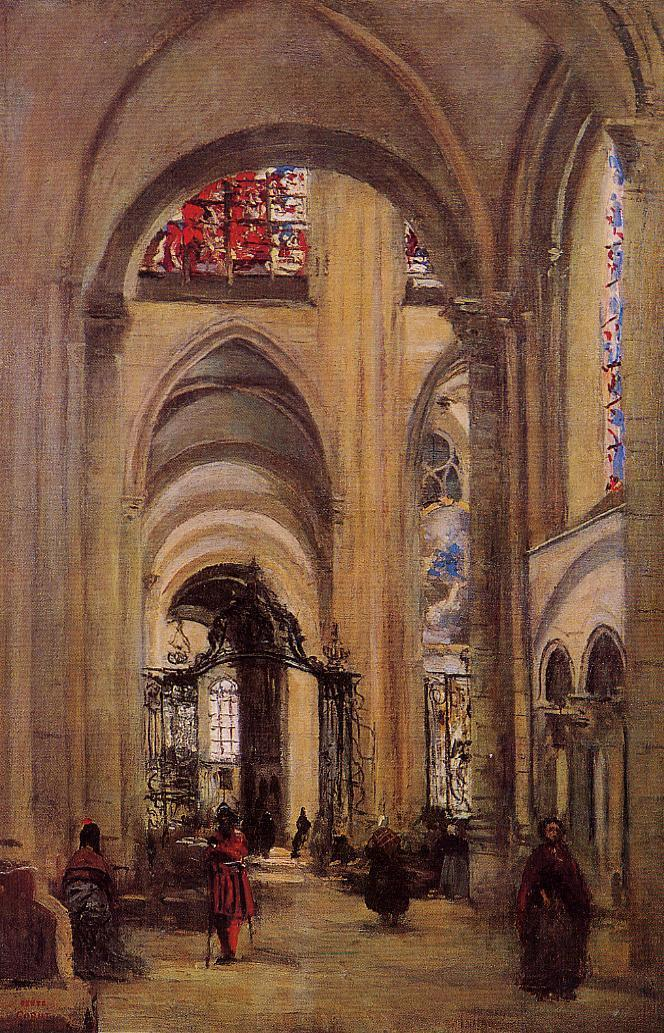 Interior of Sens Cathedral 1874 | Jean Baptiste Corot | Oil Painting