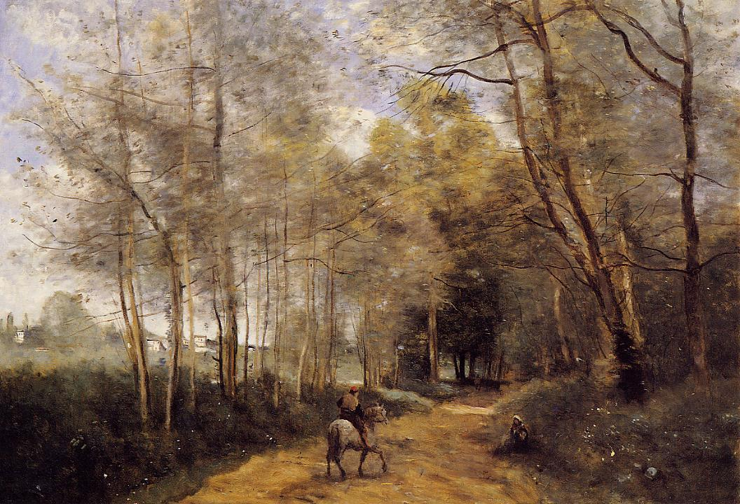 Ville d'Avray Horseman at the Entrance of the Forest 1873 | Jean Baptiste Corot | Oil Painting