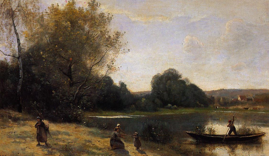 Ville d'Avray The Boat Leaving the Shore 1865-1870 | Jean Baptiste Corot | Oil Painting
