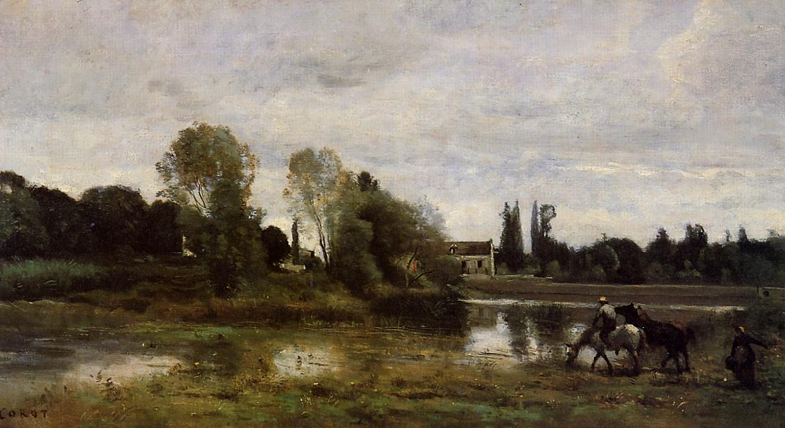 Ville d'Avray The Horses Watering Place 1860-1865 | Jean Baptiste Corot | Oil Painting