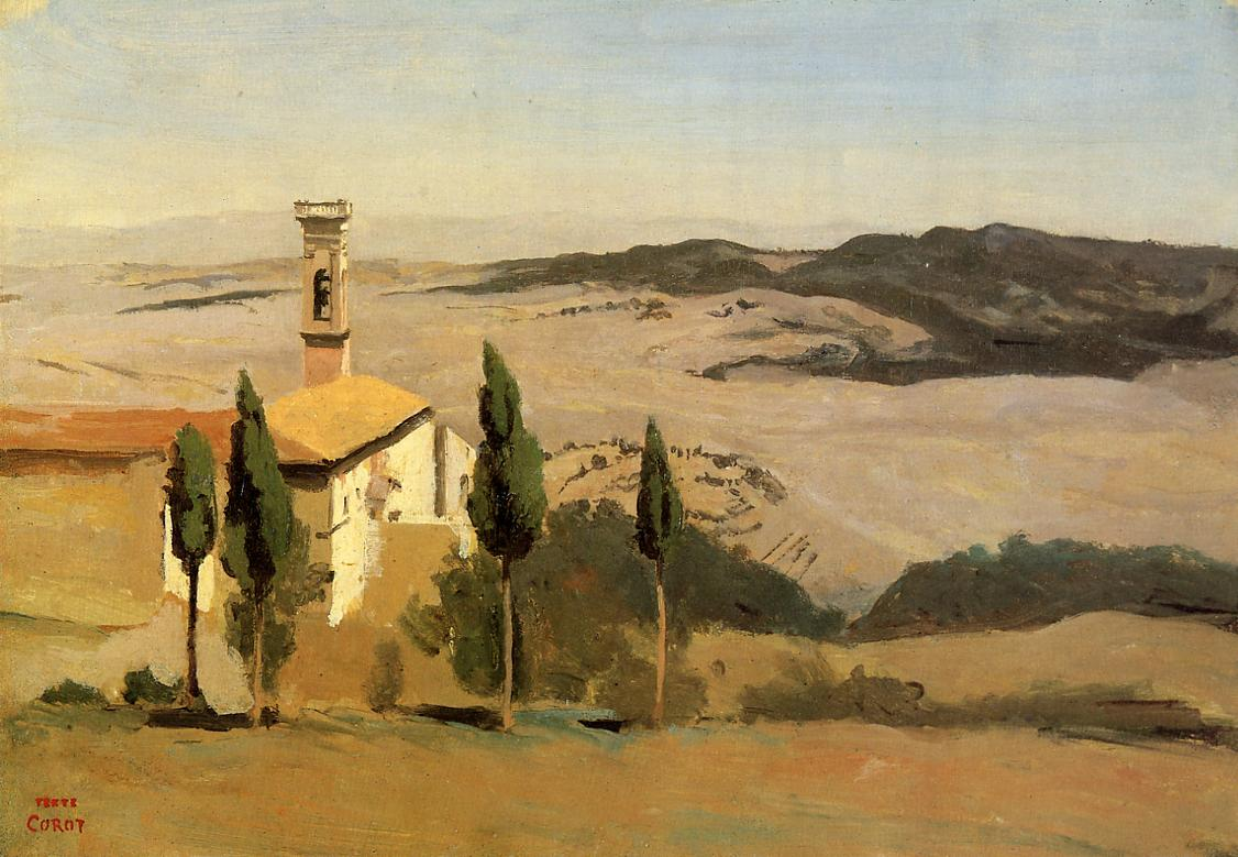Volterra Church and Bell Tower 1834 | Jean Baptiste Corot | Oil Painting