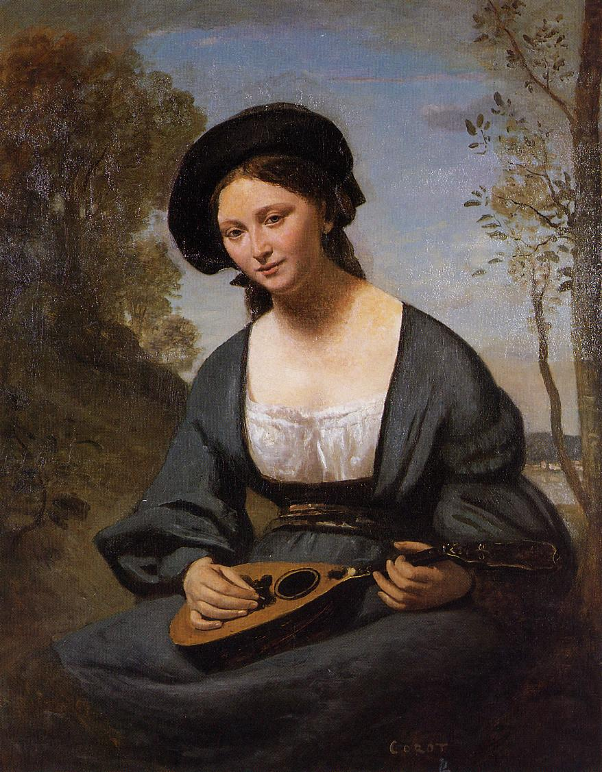 Woman in a Toque with a Mandolin 1850-1855 | Jean Baptiste Corot | Oil Painting