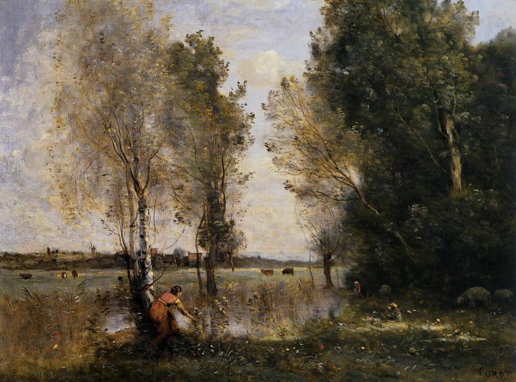 Woman Picking Flowers in a Pasture 1855-1860 | Jean Baptiste Corot | Oil Painting