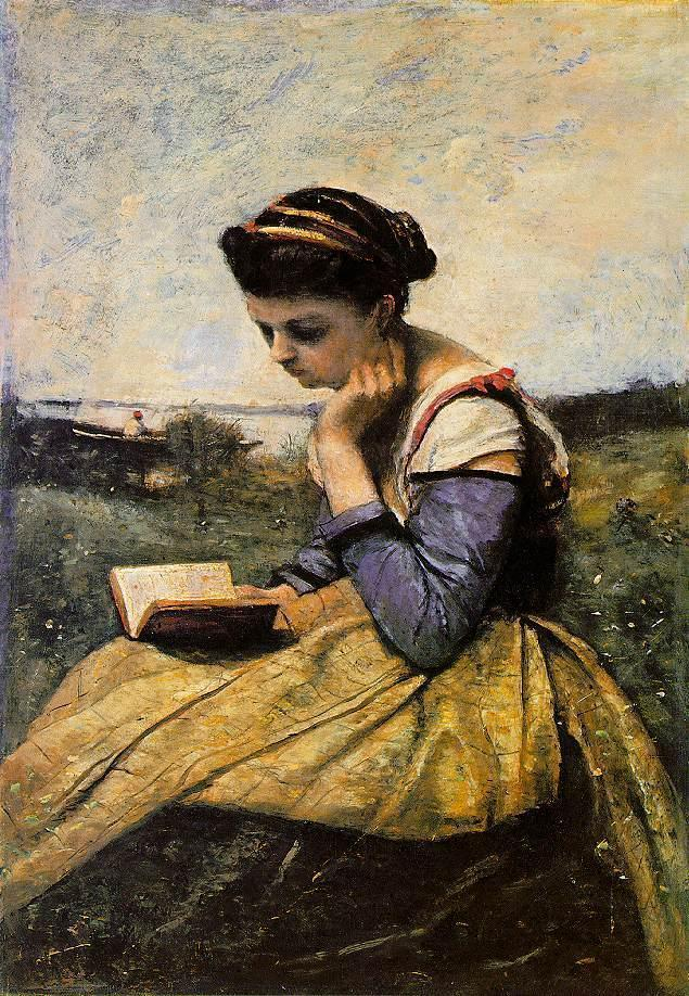 Woman Reading in a Landscape 1869 | Jean Baptiste Corot | Oil Painting