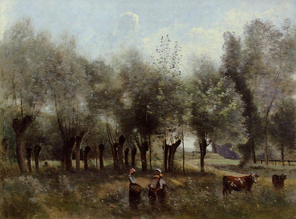 Women in a Field of Willows 1860-1865 | Jean Baptiste Corot | Oil Painting