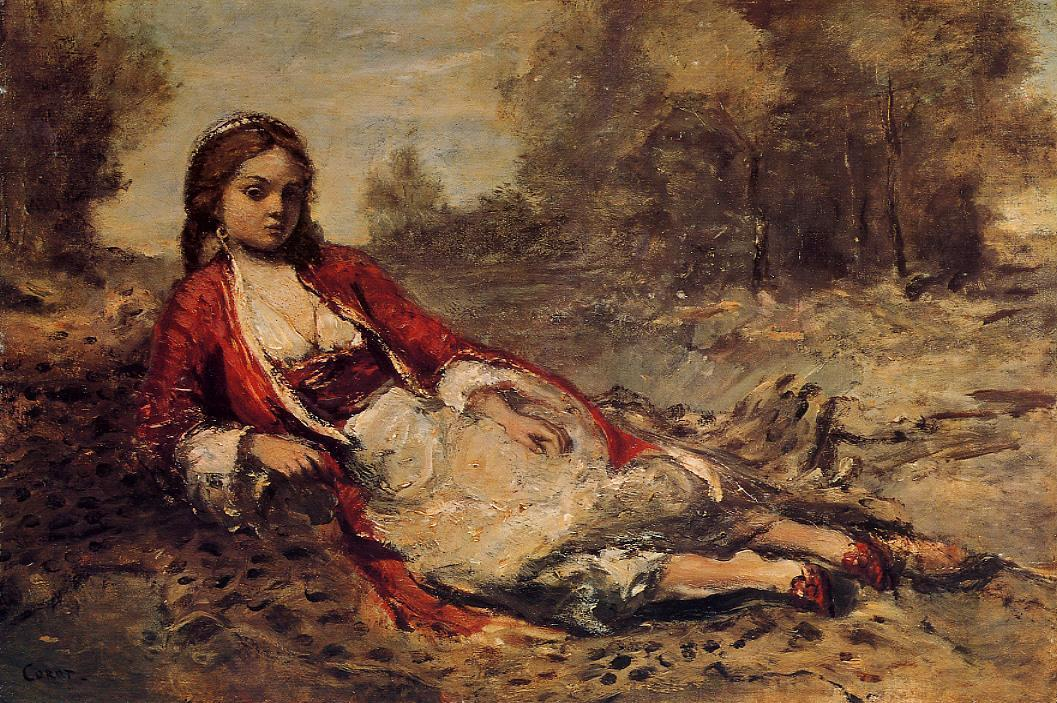 Young Algerian Woman Lying on the Grass 1871-1873 | Jean Baptiste Corot | Oil Painting