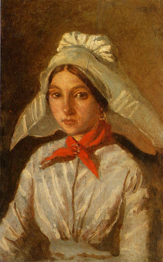 Young Girl with a Large Cap on Her Head 1830-1835 | Jean Baptiste Corot | Oil Painting