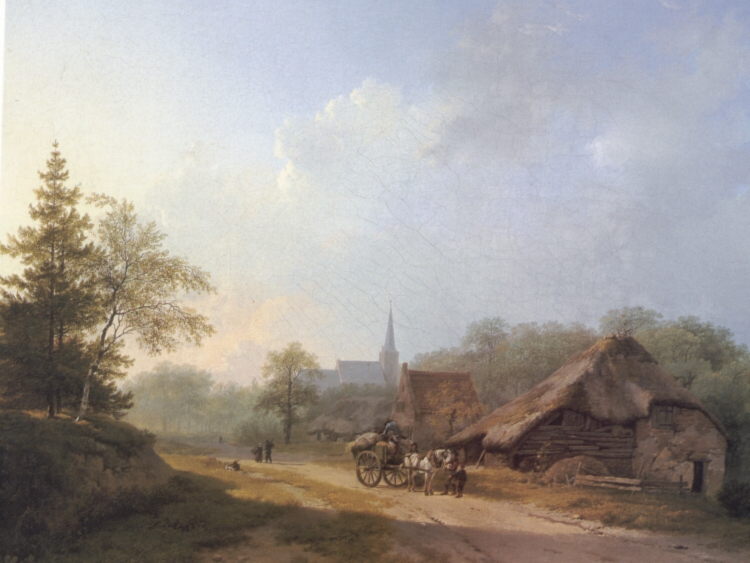 A Cart on a Country Road in Summertime | Barend Cornelis Koekkoek | Oil Painting