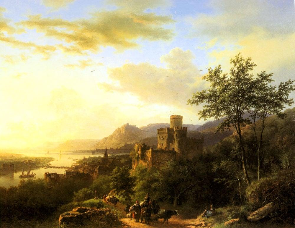 Travellers On A Path In An Extensive Rhineland Landscape | Barend Cornelis Koekkoek | Oil Painting