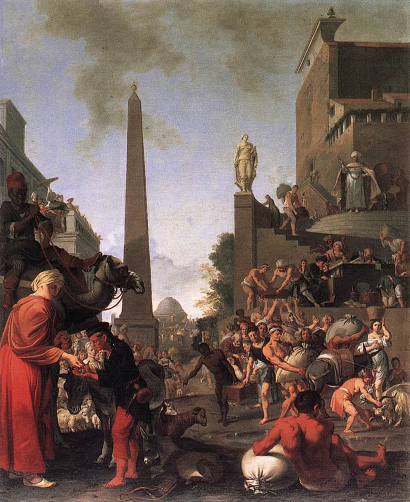 Joseph Selling Wheat to the People 1655 | Bartholomeus Breenbergh | Oil Painting
