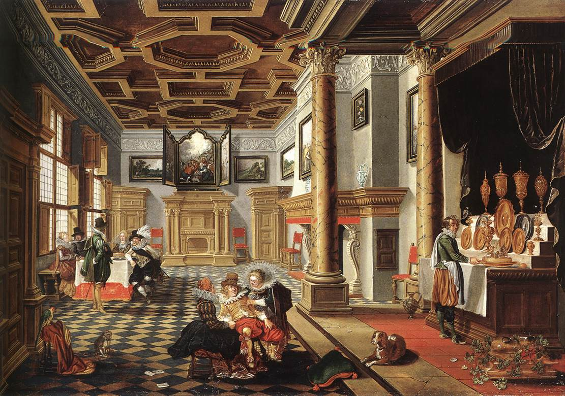 Renaissance Interior with Banqueters 1618-20 | Bartholomeus Van Bassen | Oil Painting