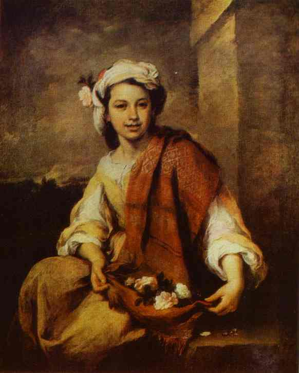 A Flower Seller 1668-1670 | Bartolome Esteban Murillo | Oil Painting