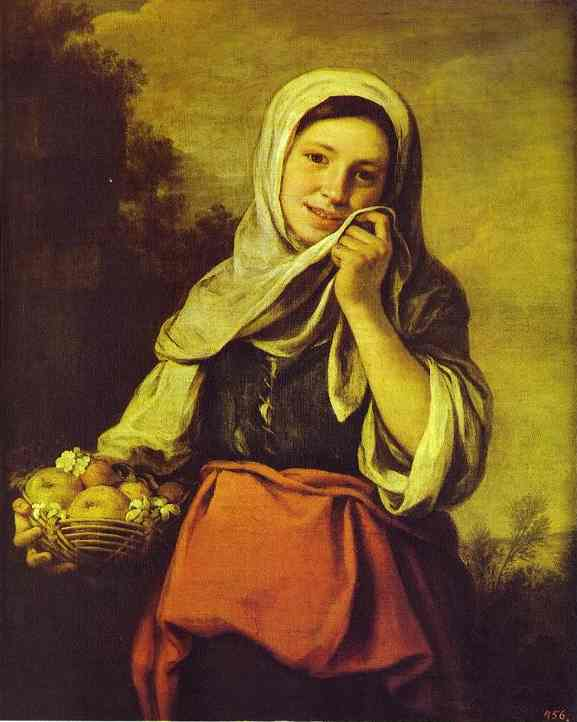 A Girl With Fruits The Pushkin | Bartolome Esteban Murillo | Oil Painting