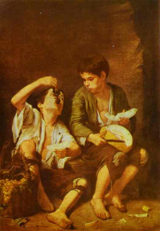 Grape And Melon Eaters 1650 | Bartolome Esteban Murillo | Oil Painting