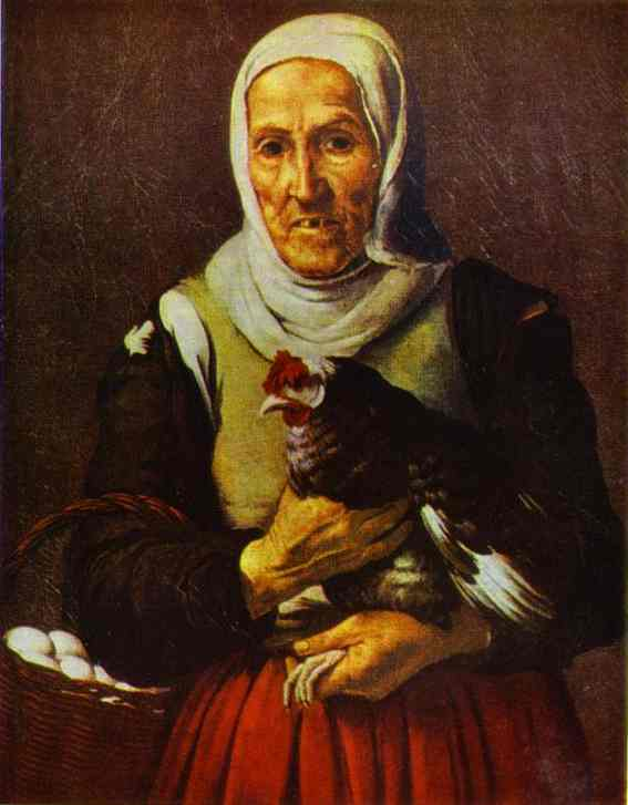 Old Woman With A Hen Alte Pinakothek | Bartolome Esteban Murillo | Oil Painting
