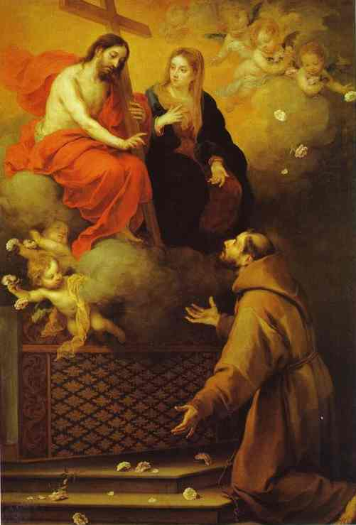 The Vision To St Francis At Porziuncola 1667 | Bartolome Esteban Murillo | Oil Painting