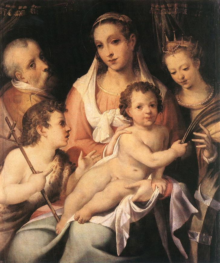 Holy Family with the Infant St John the Baptist and St Catherine of Alexandria | Bartolomeo Passerotti | Oil Painting