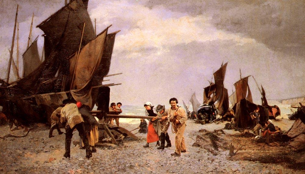 Au Cabestan   Belleuse Louis Robert Carrier   Oil Painting