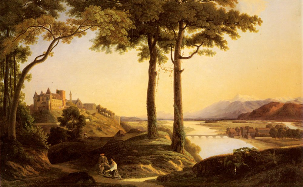 Figures In An Extensive River Landscape with a Castle Beyond | Berger Francisque Jean Schaeffer | Oil Painting