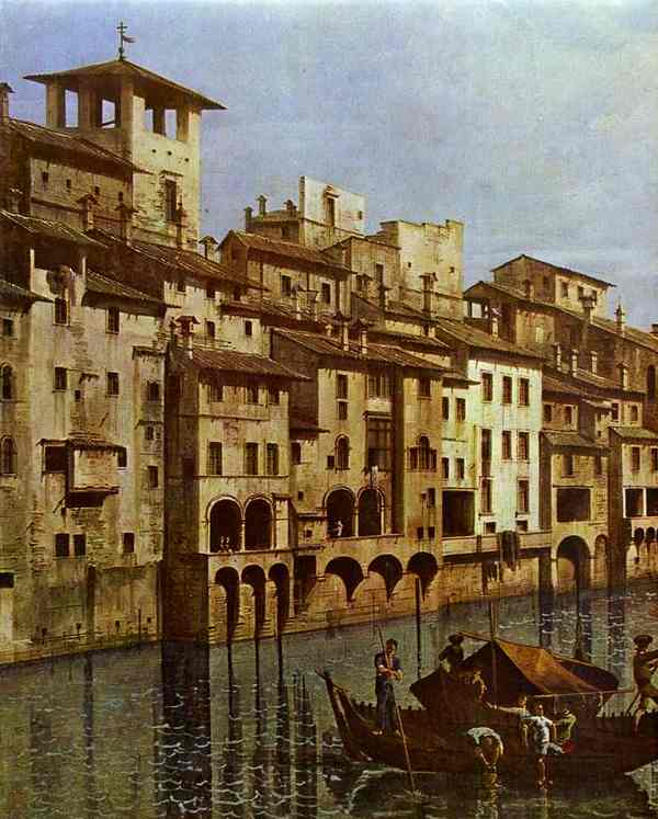Arno In Florence Detail Early 1740s | Bernardo Bellotto | Oil Painting