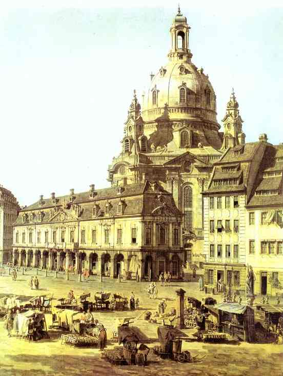 The New Market Square In Dresden Seen From The Judenhof Detail 1749 | Bernardo Bellotto | Oil Painting