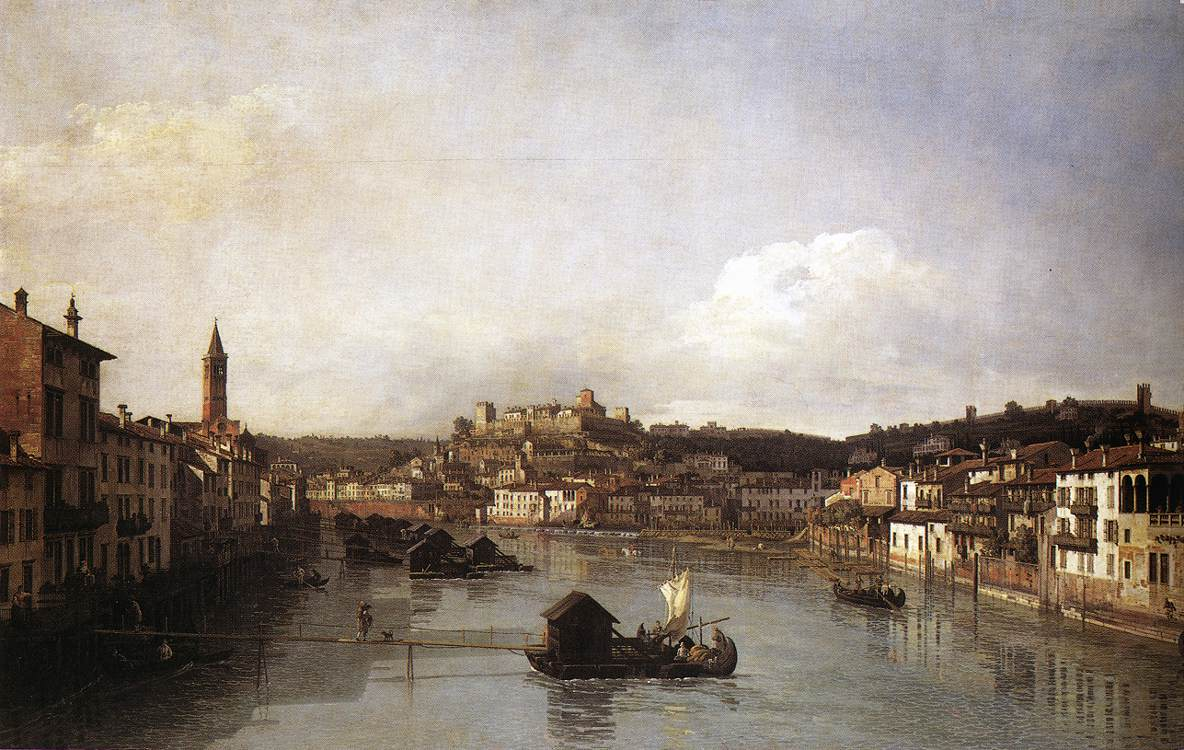 View Of Verona And The River Adige From The Ponte Nuovo 1747-48 | Bernardo Bellotto | Oil Painting