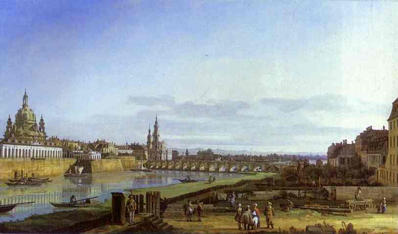 Dresden From The Right Bank Of The Elbe Above The Augustus Bridge 1750 | Bernardo Bellotto | Oil Painting