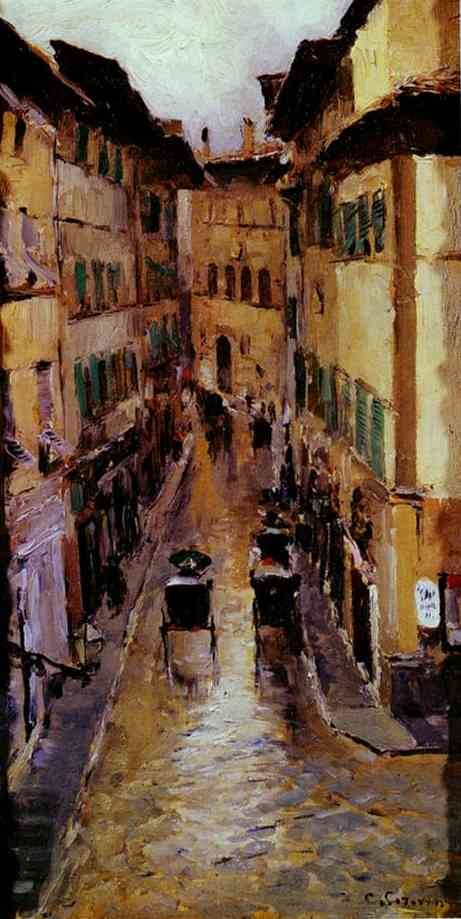 A Florence Street In The Rain 1888 | Bernardo Strozzi | Oil Painting