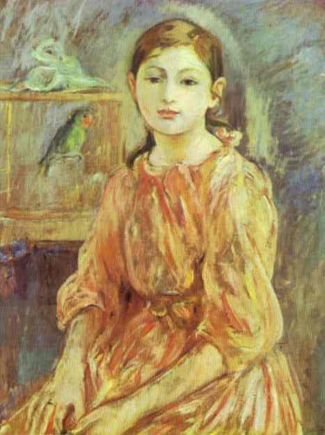 The Artists Daughter With A Parakeet 1890 | Berthe Morisot | Oil Painting