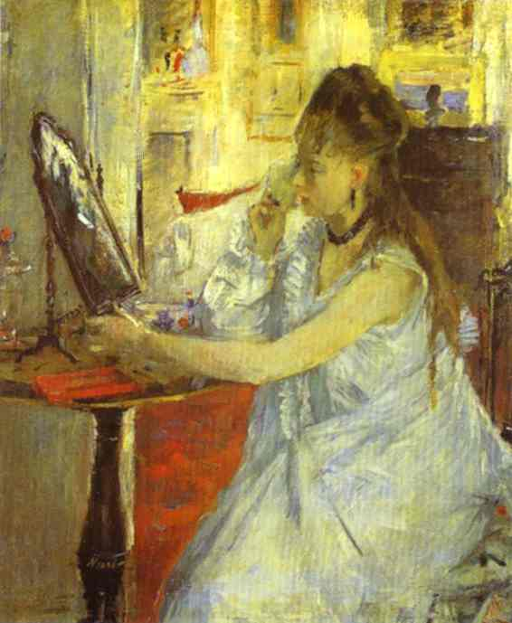 Young Woman Powdering Herself 1877 | Berthe Morisot | Oil Painting