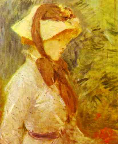 Young Woman With A Straw Hat 1884 | Berthe Morisot | Oil Painting