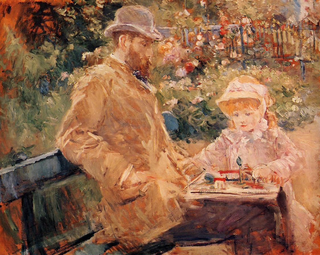 Eugene Manet and His Daughter at Bougival 1881 | Berthe Morisot | Oil Painting