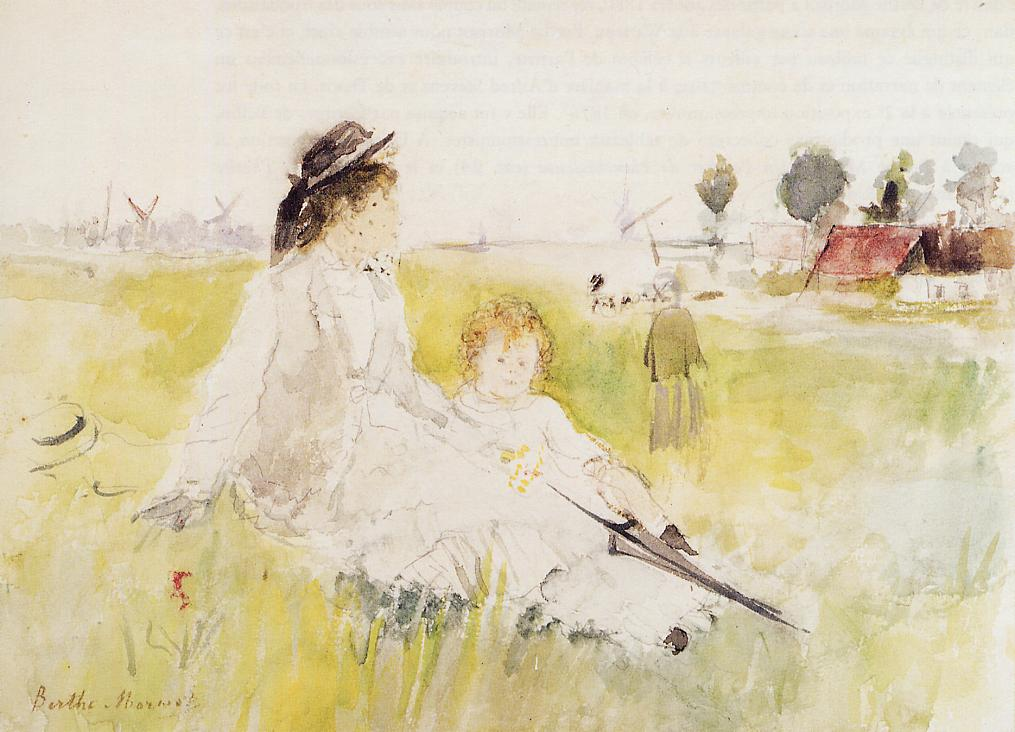 Girl and Child on the Grass 1875 | Berthe Morisot | Oil Painting