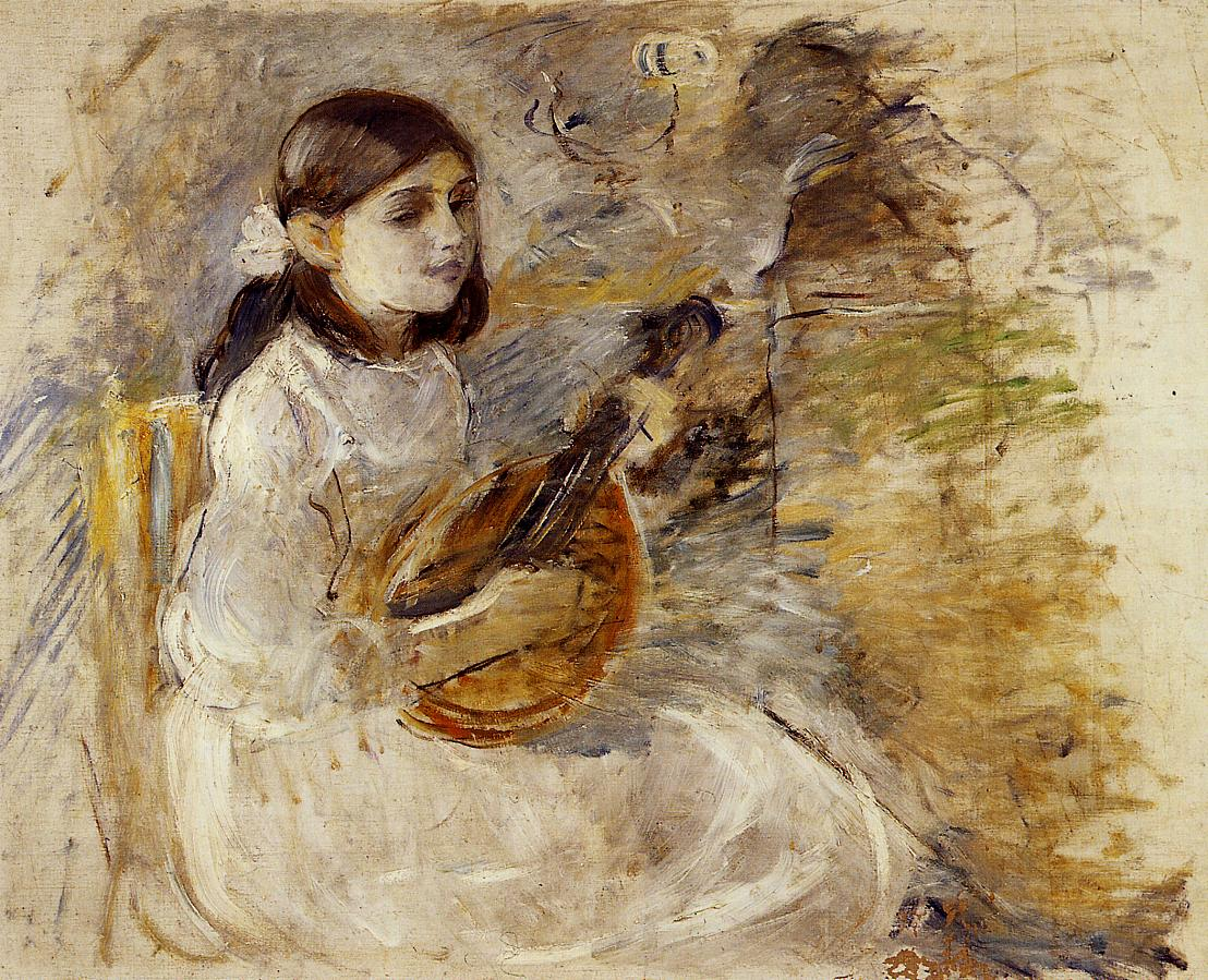 Girl Playing the Mandolin 1890 | Berthe Morisot | Oil Painting
