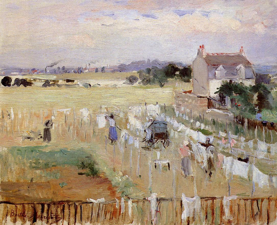 Hanging the Laundry out to Dry 1875 | Berthe Morisot | Oil Painting