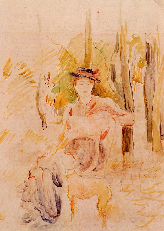 Jeune Fille a la Levrette 1893 | Berthe Morisot | Oil Painting