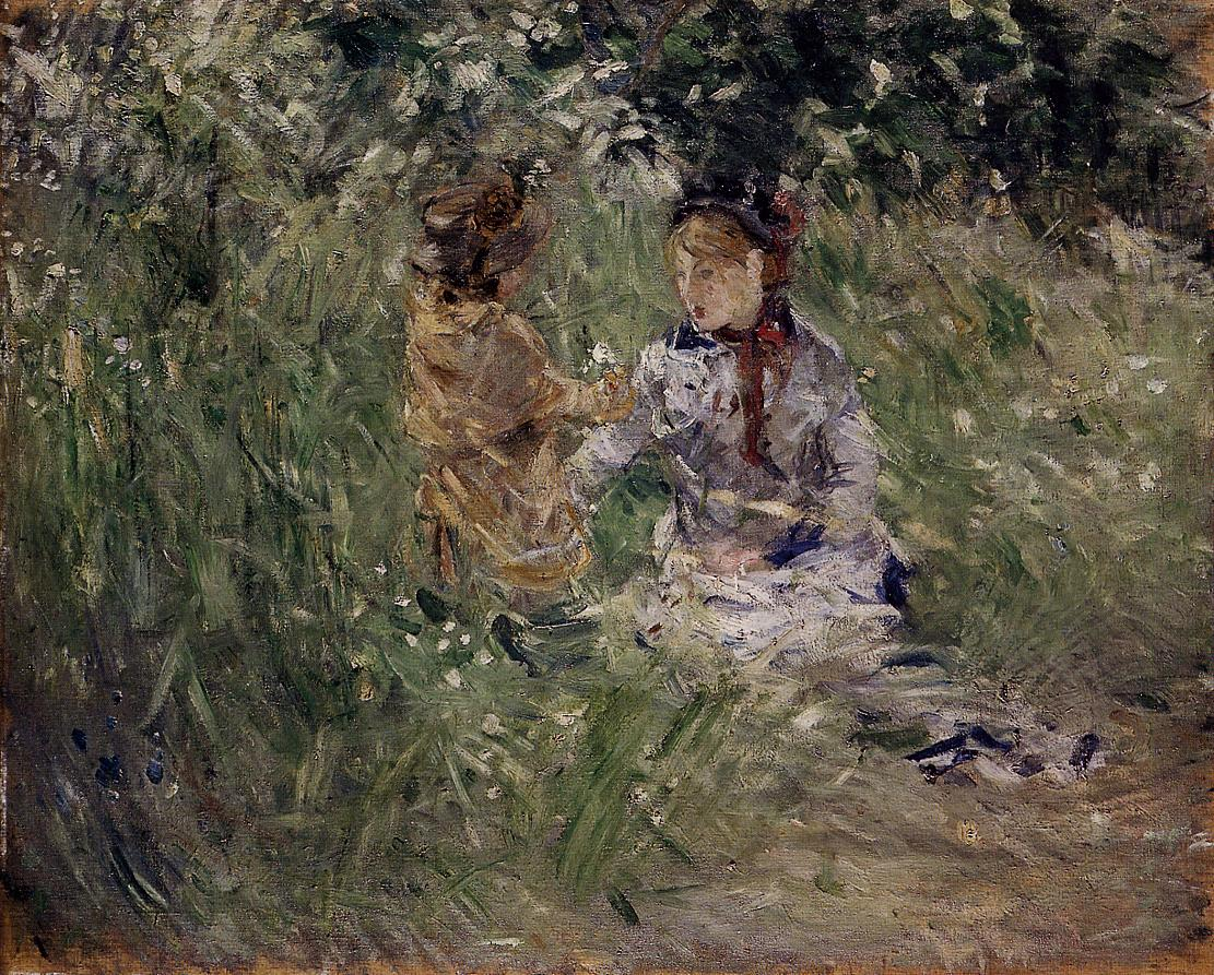 Julie with Pasie in the Garden at Bougival 1881 | Berthe Morisot | Oil Painting