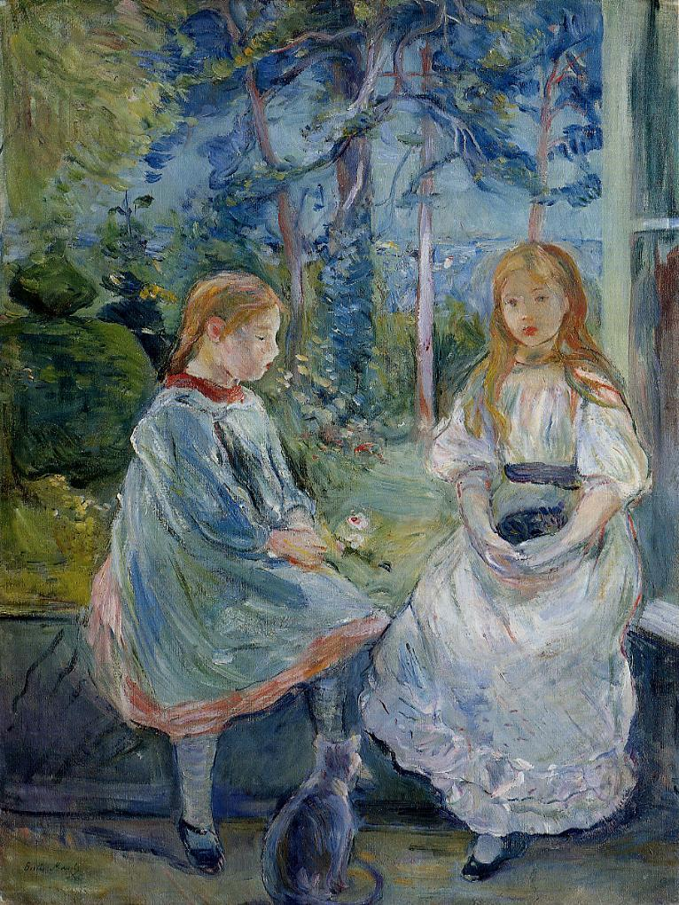 Little Girls at the Window (Jeanne and Edma Bodeau 1892 | Berthe Morisot | Oil Painting
