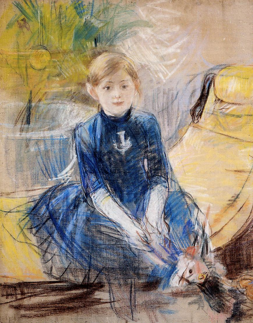 Little Girl in a Blue Dress 1886 | Berthe Morisot | Oil Painting