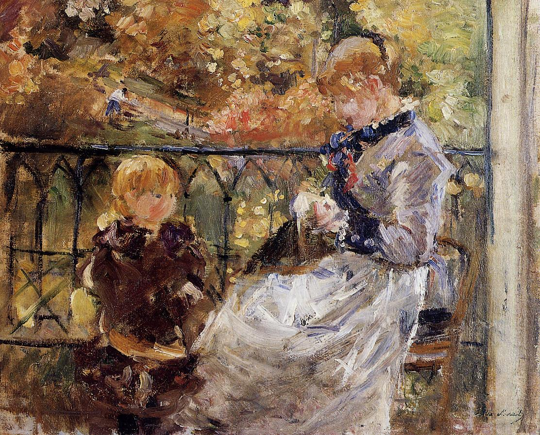 On the Balcony of Eugene Manet's Room at Bougival 1881 | Berthe Morisot | Oil Painting