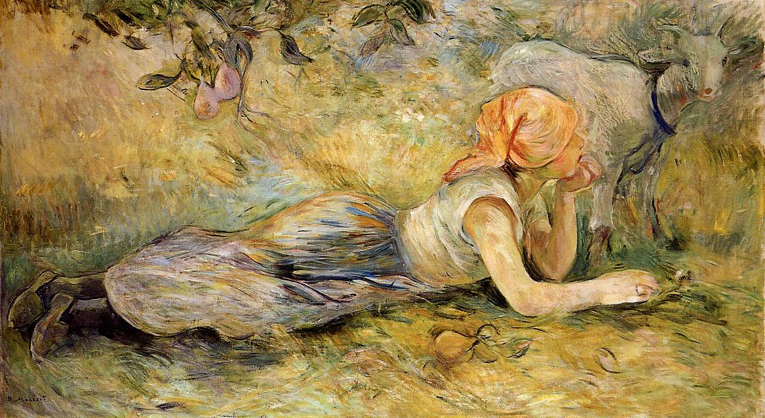 Shepherdess Laying Down1 1891 | Berthe Morisot | Oil Painting