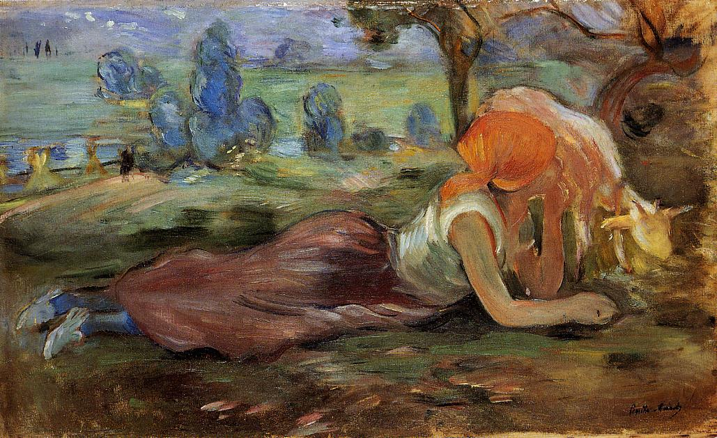 Shepherdess Laying Down2 1891 | Berthe Morisot | Oil Painting