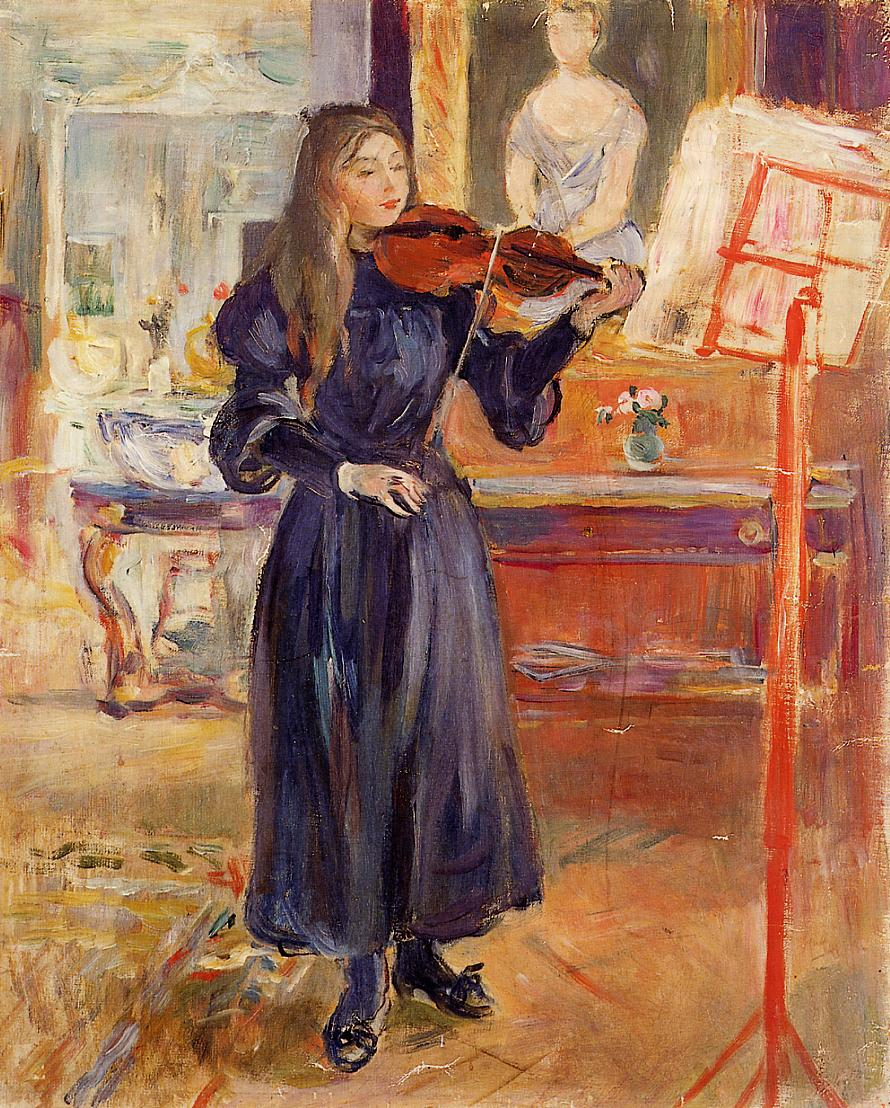 Studying the Violin 1892-1893 | Berthe Morisot | Oil Painting