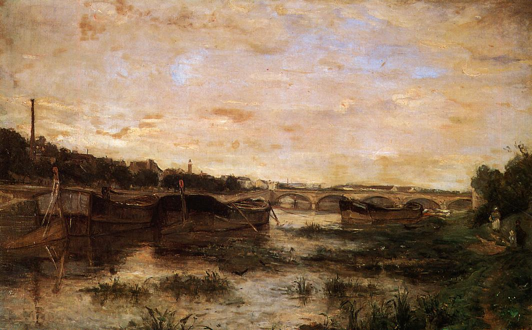 The Seine below the Pont dLena 1866 | Berthe Morisot | Oil Painting