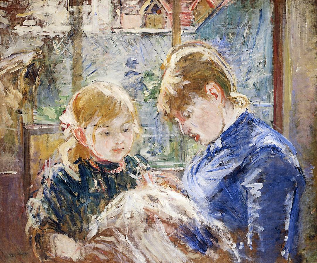 The Sewing Lesson (aka The Artists Daughter Julie with Her Nanny) 1884 | Berthe Morisot | Oil Painting