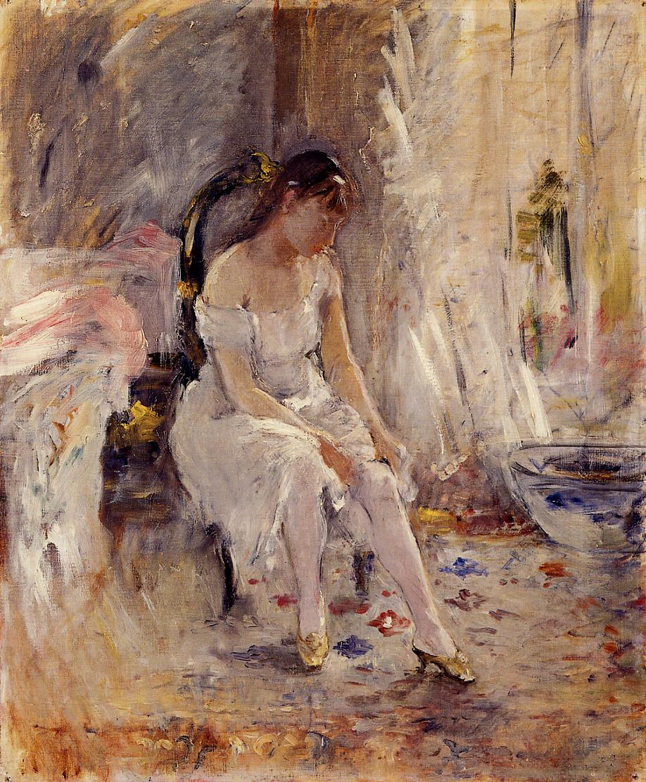 Woman Getting Dressed (aka Young Woman Fastening Her Stockings) 1880 | Berthe Morisot | Oil Painting