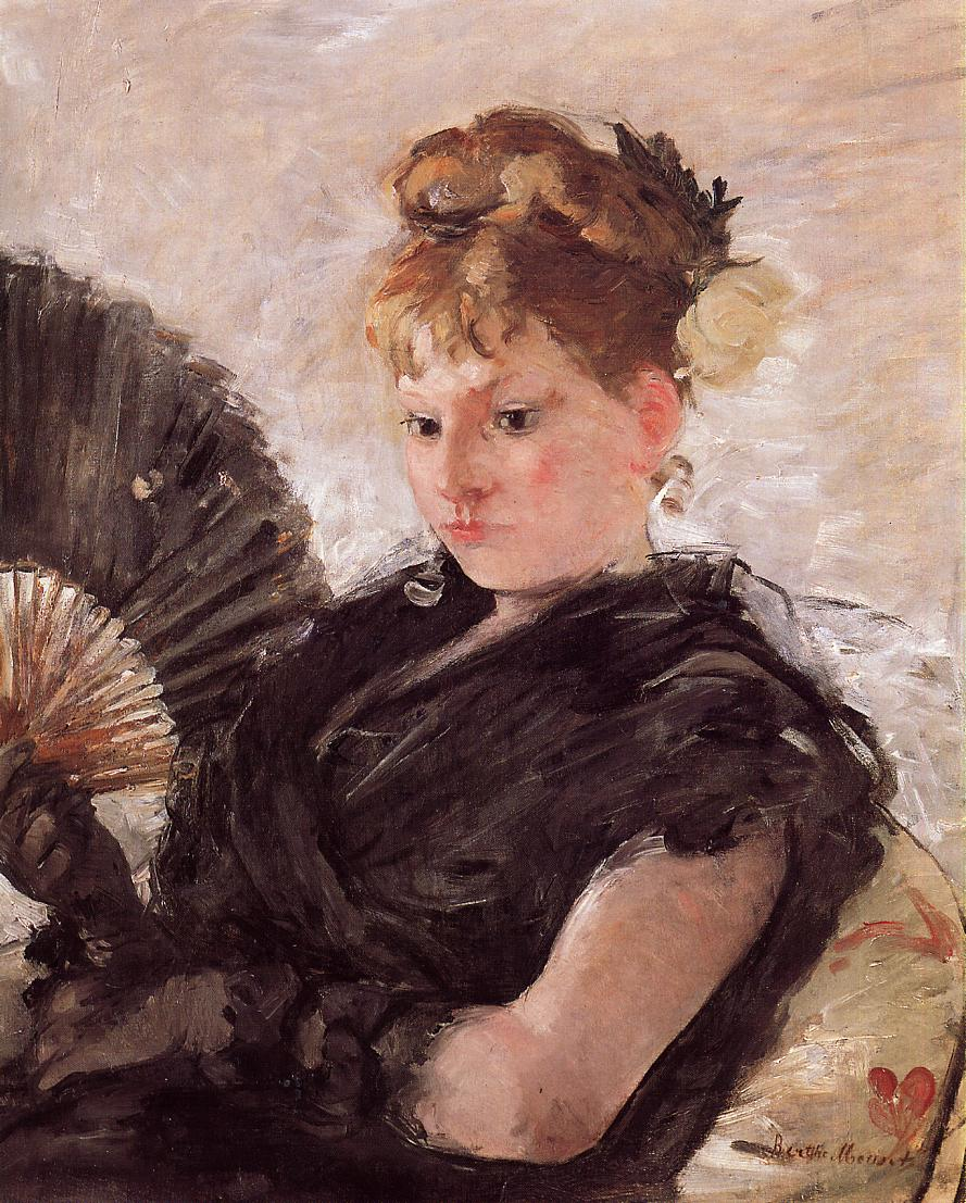 Woman with a Fan (aka Head of a Girl) 1876 | Berthe Morisot | Oil Painting
