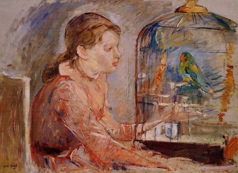 Young Girl and the Budgie 1888 | Berthe Morisot | Oil Painting
