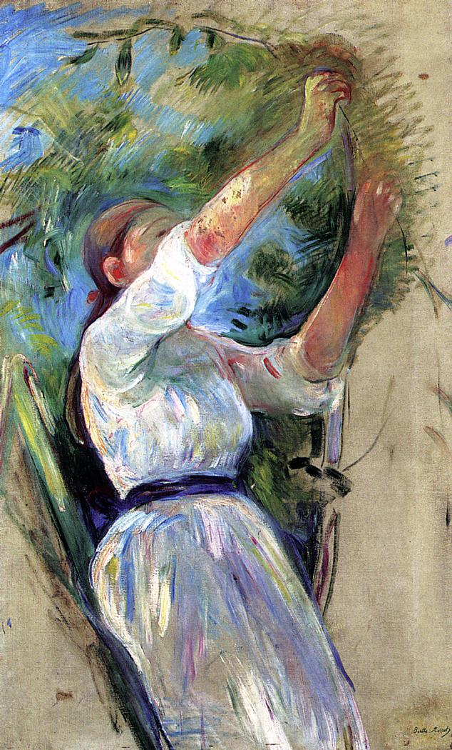 Young Girl Picking Cherries 1891 | Berthe Morisot | Oil Painting